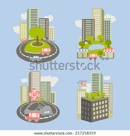 Vector icons about live nature in the city - stock vector