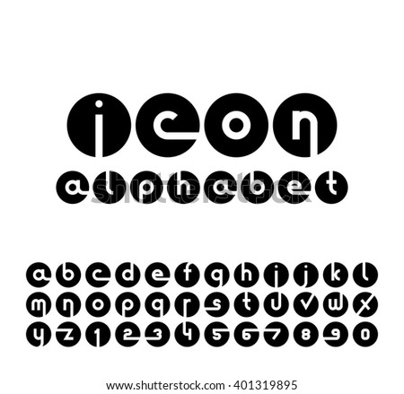 Vector icons alphabet set. Collection of round logos. Font for your design. - stock vector