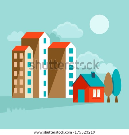 Vector icons and concepts in flat trendy style - houses illustrations and banners for real estate websites and brochures - stock vector