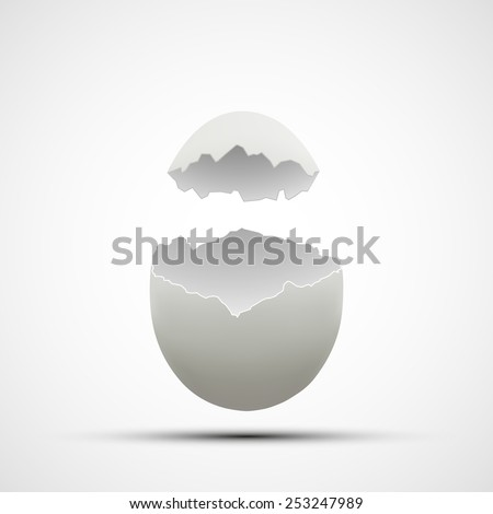 Vector icons broken chicken egg - stock vector