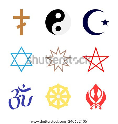 Vector icons. Character set popular religions of world in color. - stock vector