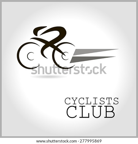 Vector icons cycling club of black and gray, with an inscription - stock vector