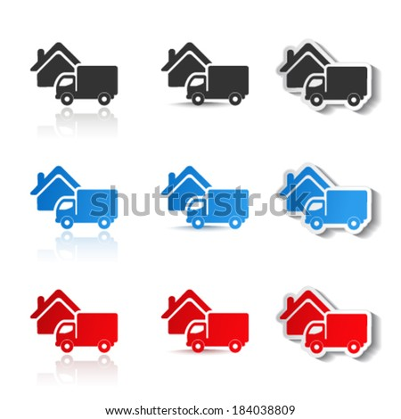 Vector icons - delivery method, free delivery and quick delivery home, truck symbols - stock vector