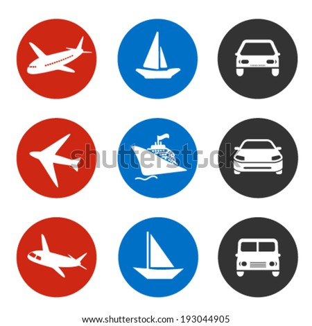 Vector icons - delivery method or shipping on vacation - boat, plane, car - stock vector