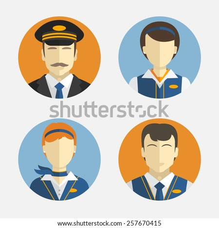Vector icons depicting different Professions pilots and pretty flight attendant in uniform  - stock vector