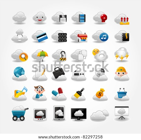 Vector Icons for Cloud network - stock vector