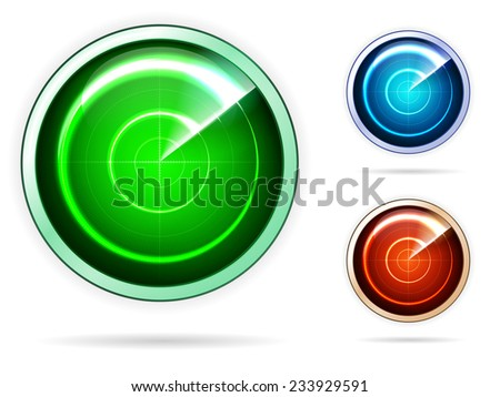 Vector icons for colored radar. Blank monitoring radars with green, pink and orange screen. Set of vector icons isolated on white background. - stock vector
