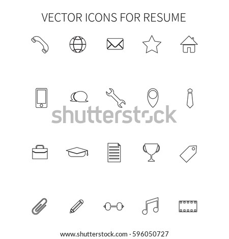 vector icons resume stock vector 596050727 shutterstock - Icons For Resume