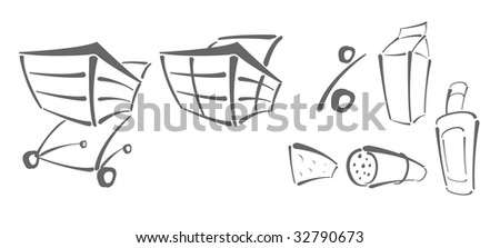Vector icons for shopping - shopping chart, percent, food - stock vector