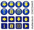 Vector icons for virtual tour, navigation buttons - stock vector