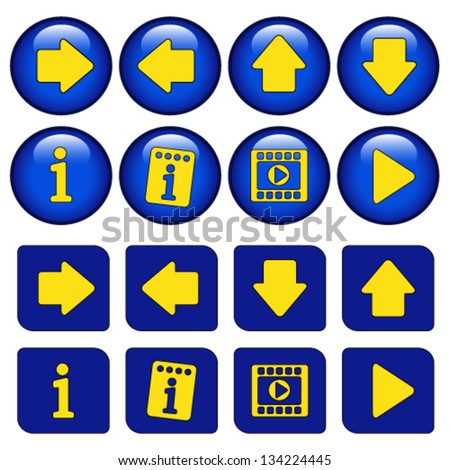 Vector icons for virtual tour, navigation buttons