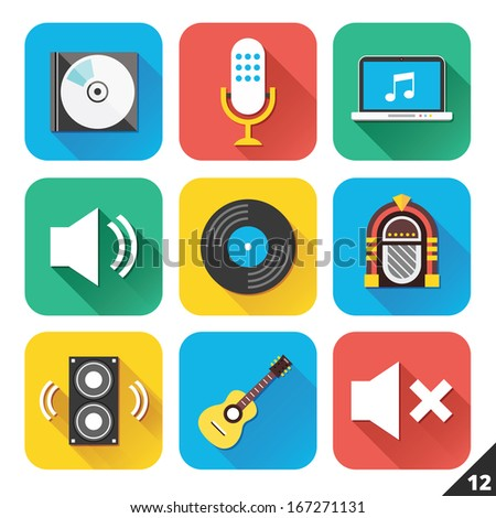 Vector Icons for Web and Mobile Applications. Set 12. - stock vector