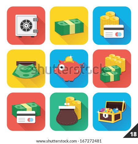 Vector Icons for Web and Mobile Applications. Set 18. - stock vector