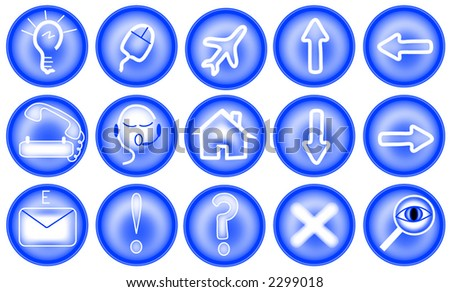 Vector icons in blue and white.including,e-mail,travel,home,and more.