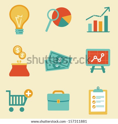 Vector icons in flat retro style - finance and business illustration - stock vector