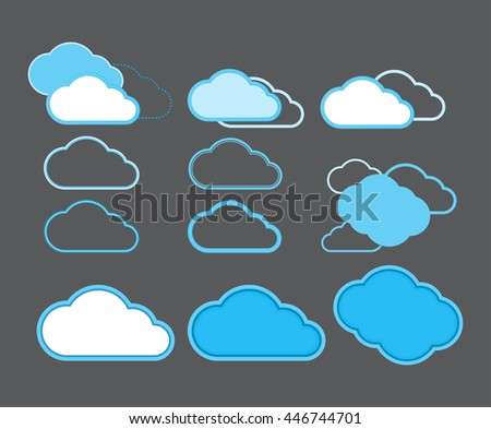 Vector icons in the form of clouds to indicate the cloud data storage on the Internet