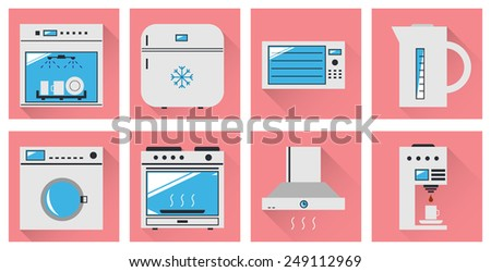 Vector icons kitchen appliances. Minimal style. - stock vector