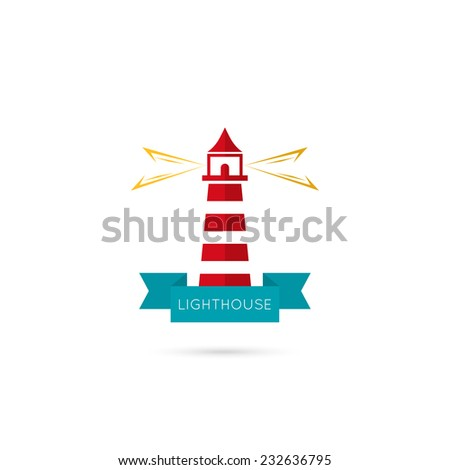 Vector icons lighthouse lighting the way with a ribbon. Logo. The concept of reliability, care, guiding. Flat design. red, yellow, blue - stock vector