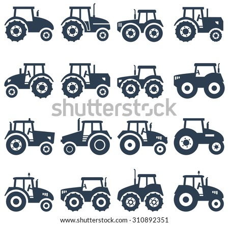 vector icons of a tractor - stock vector