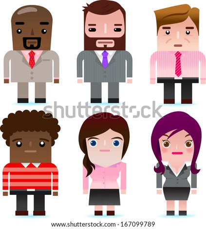 Vector icons of business man and woman, including boss, manager, clerk, secretary, business lady. - stock vector