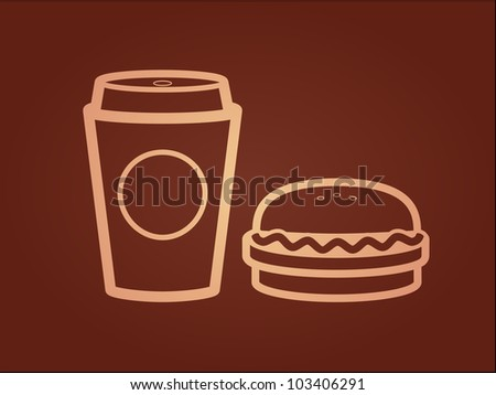 Vector icons of coffee cup and a burger - stock vector