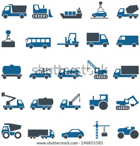 Vector icons of construction and trucking industry. Set icons can be used in web design, mobile applitsations, printing on a variety of surfaces.  - stock vector