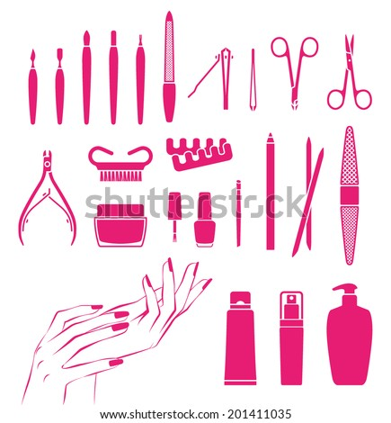 Vector icons of cosmetics and tools for beautiful hands and nails - stock vector