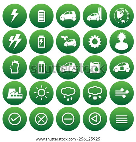 vector icons of electricity car and weathers - stock vector