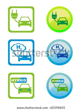 vector icons of environmental  friendly fuel types - stock vector