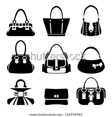 Vector icons of female bags - stock vector