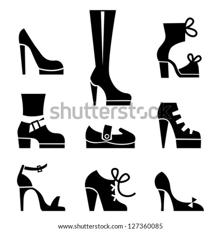 Vector icons of female footwear - stock vector