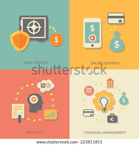 Vector icons of financial analytics, online banking and payment control concepts - stock vector
