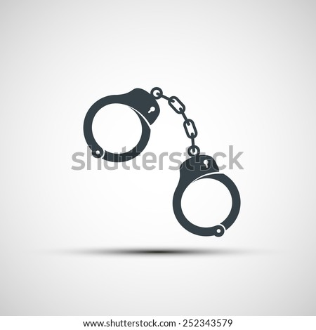 Vector icons of handcuffs - stock vector