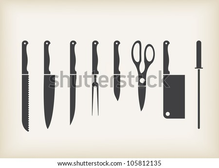 Vector Icons of kitchen knifes - stock vector