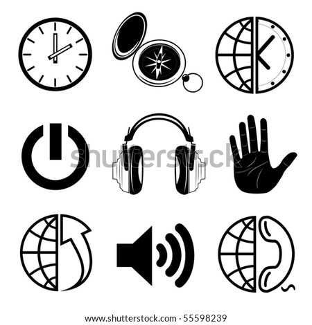 Vector icons of media - stock vector