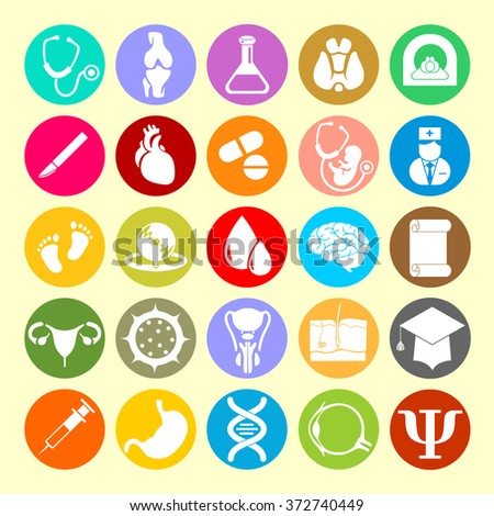 Vector Icons of medical subjects - stock vector