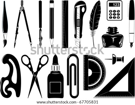 Vector icons of office tool - stock vector