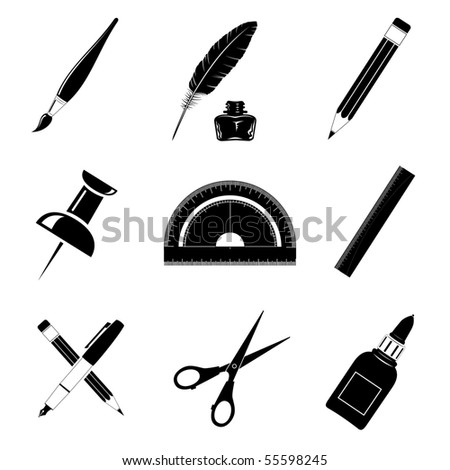 Vector icons of office tools - stock vector