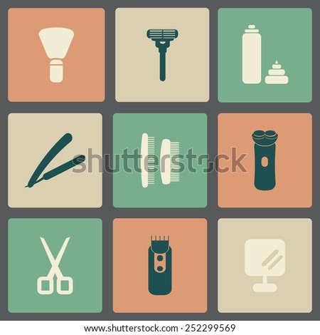 vector icons of shaving tools for real men
