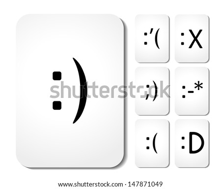 Vector icons of smiley faces on cards - stock vector