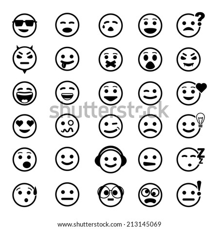 Vector icons of smiley faces on white background. Set of different emotions. - stock vector