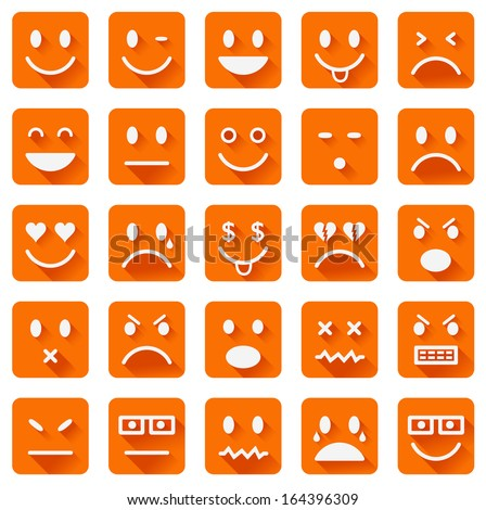 Vector icons of smiley faces with long shadows - stock vector