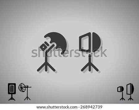 vector icons of studio soft box and umbrella - stock vector