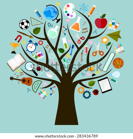 Vector Icons of study are many branches like tree - stock vector