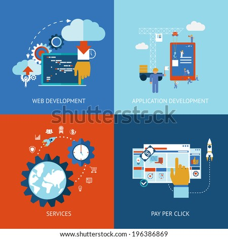 Vector icons of web and application apps development concepts in flat style - stock vector
