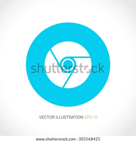 "Vector icons on abstract background with blue circle ""browser"""