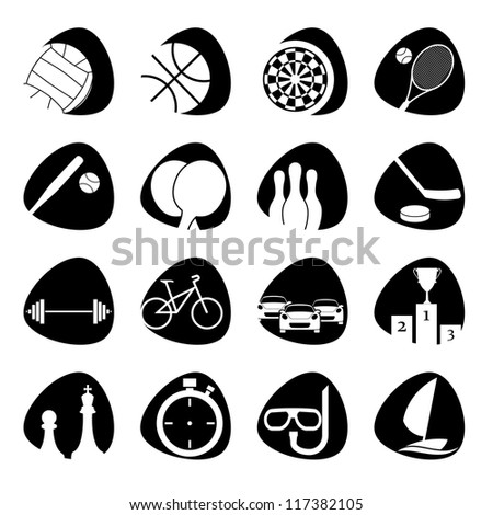 Vector icons on the theme of sport - stock vector