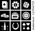 Vector icons on the theme of the casino - stock vector