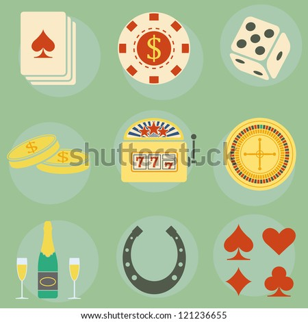 Vector icons on the theme of the casino
