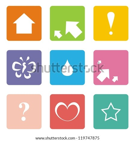 Vector icons or button set isolated on white background with arrow, left, right, up, question mark, exclamation mark, heart, drop, butterfly and star symbol. Abstract signs or logo for website design. - stock vector